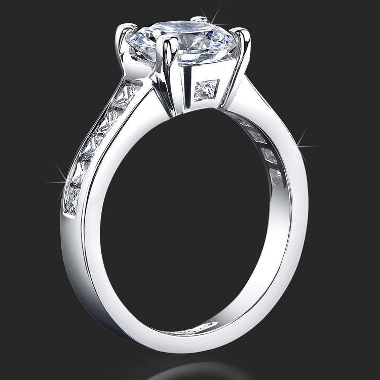 Invisible Channel Set Princess Diamond Ring Wide Band with Hidden