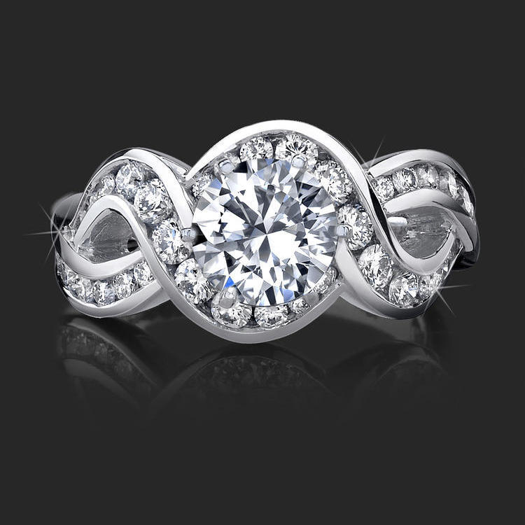 4 Curved Channel Set Diamond Engagement Ring Top View