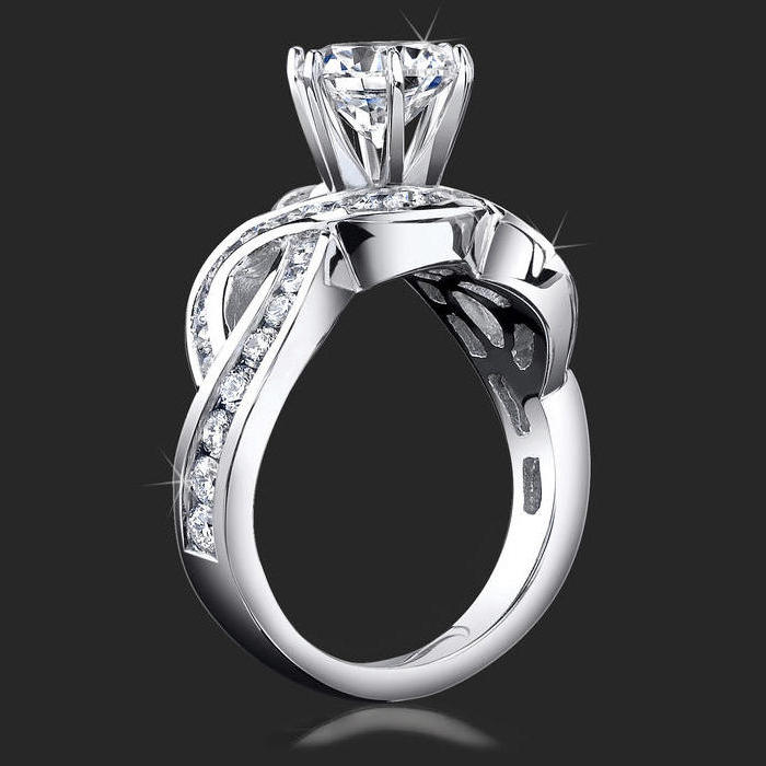 4 curved channel set diamond engagement ring setting - One Of A Kind Wedding Rings