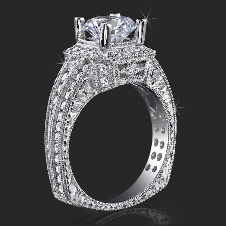 Ring Of Art Diamond And Engraved Engagement