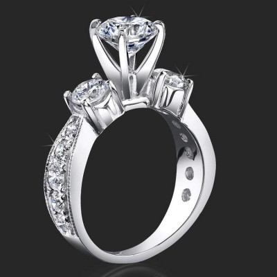 1.45 ctw. 14 Stone Tiffany Style 4 Prong Diamond Engagement Ring - bbr443