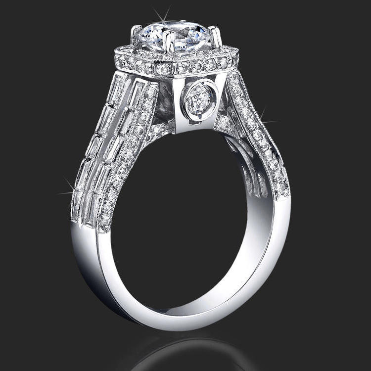 Baguette And Round Halo Style Diamond Engagement Ring With