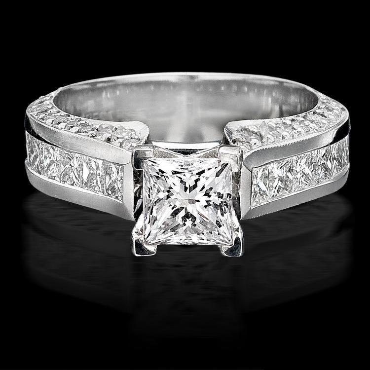 channel set princess micro pave round engagement ring top view - Selling Wedding Ring