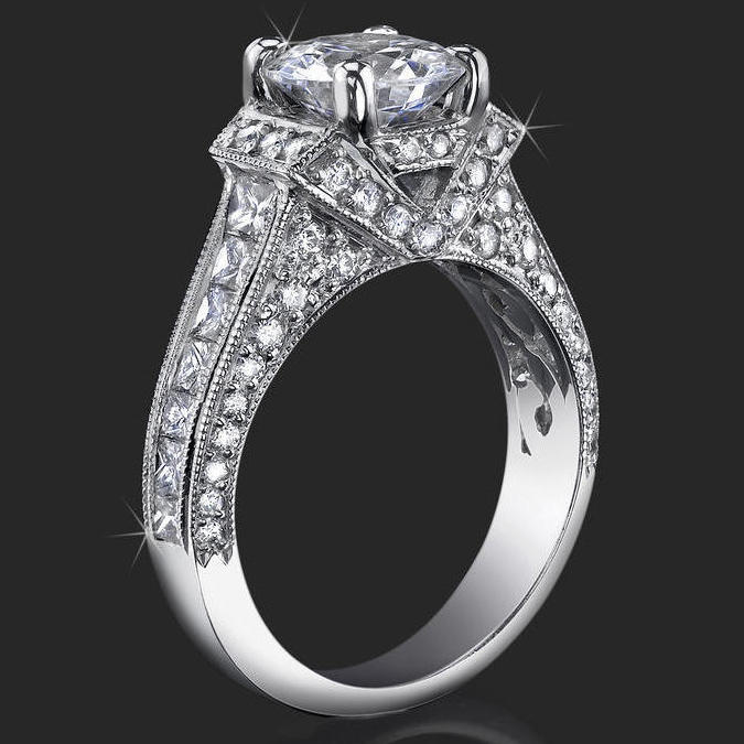 4 Prong Princess And Round Millegrain Engagement Ring   Bbr290