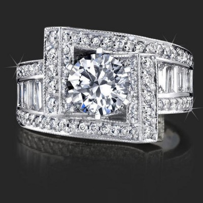 1.85 ctw. Double Seven Round and Baguette Engagement Ring - Top View