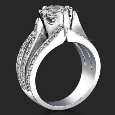 Unique double 4 prong wide band triple split engagement ring