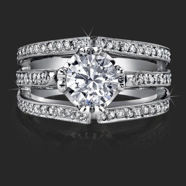 Double Split Shank Micro Pave Diamond Engagement Ring Top View