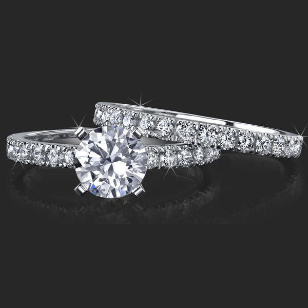 d8e02dabdb9fd Jewelers Delicate French Cut Pave Engagement Rings with Medium Thick ...