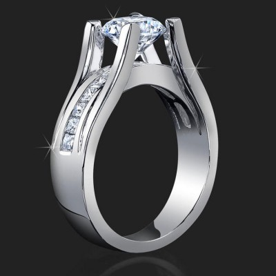 .68 ctw. Floating Diamond Style Princess Channel Set Engagement Ring - bbr159