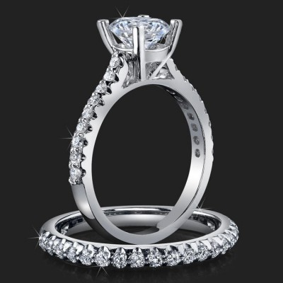 .74 ctw. Petite Channel Curved Set Diamond Engagement Ring Set - bbr511