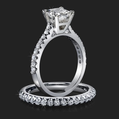 .74 ctw. Petite Channel Curved Set Princess Engagement Ring Set – bbr511p