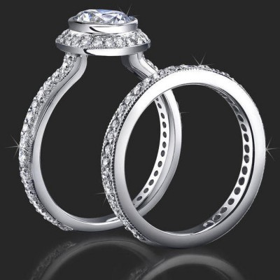 .94 ctw. Halo Bezel Millegrain Diamond Engagement Ring Set - bbr760set