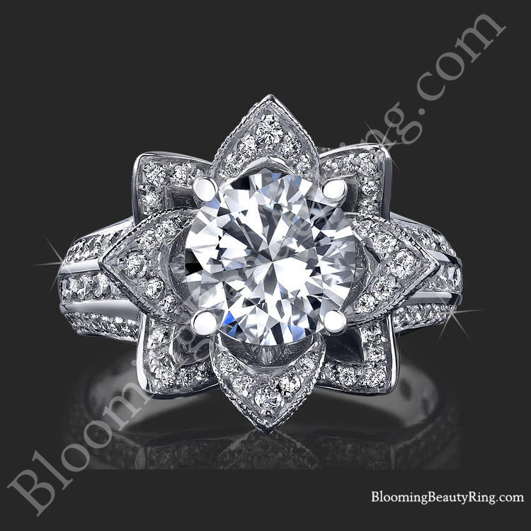 1.67 ctw. Small Hand Engraved Blooming Beauty Wedding Ring Set ...