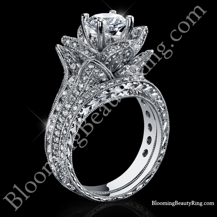 large hand engraved blooming beauty flower ring wedding set bbr434en set - Wedding Set Rings
