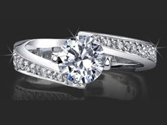 .50 ctw twisted setting 4 prong palladium round diamond engagement ring