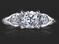.80 ctw. Channel Set w/ Fancy U Shaped Diamond Prong Engagement Ring
