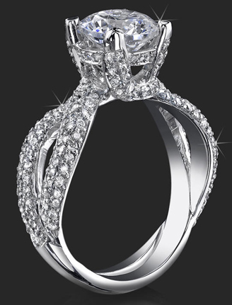 .Micropave Diamonds On Elegant Criss Cross Designer Band And Glistening Platinumn Prongs