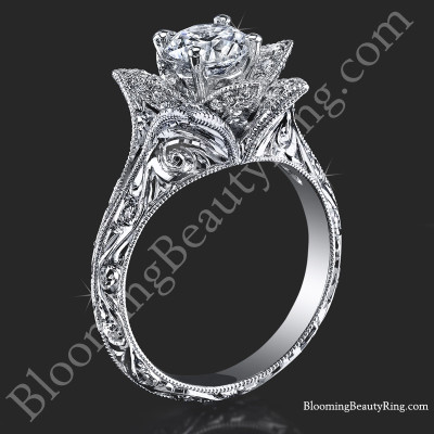 Hand Engraved 8 Petal .58 ct. Diamond Lotus Flower Ring BBR588-2