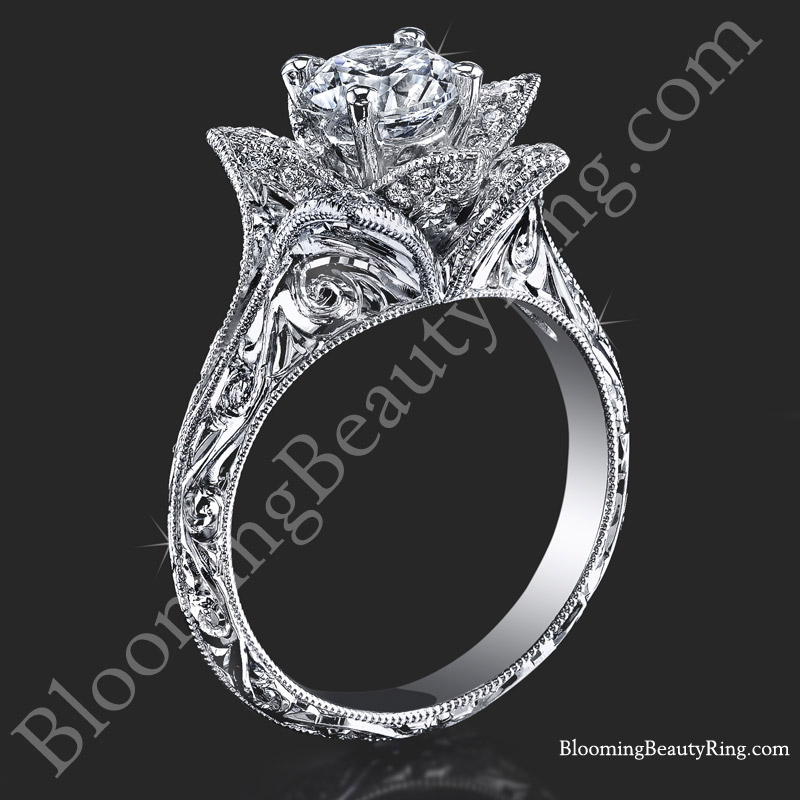 Antique Vintage Style Lotus Engagement Ring with Hand Engraving