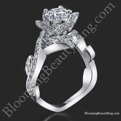 Lotus Ring with Leaves .90 ctw. Diamond Flower Ring - bbr587