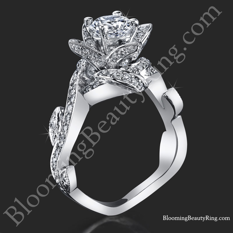 Lotus Ring with Leaves 90 ctw Diamond Flower Ring bbr587