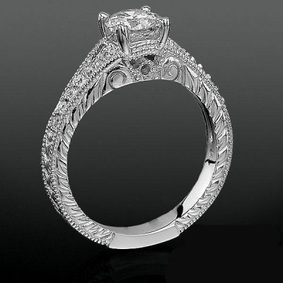 Artistic Hand Carved Design Split Shank Diamond Engagement Ring bbrnw3533