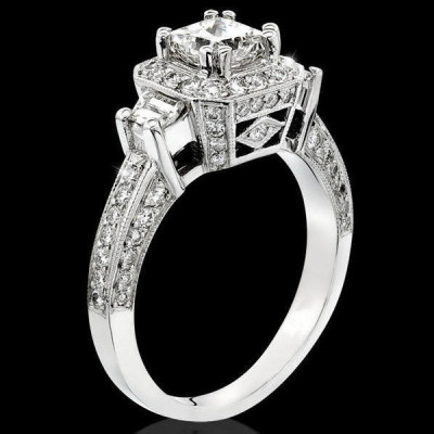 Octagonal Pave Styled 8 Pronged Halo Diamond Engagement Ring bbr356