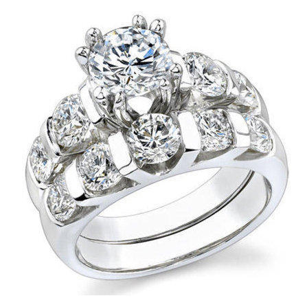 tension set large curved 8 prong engagement ring
