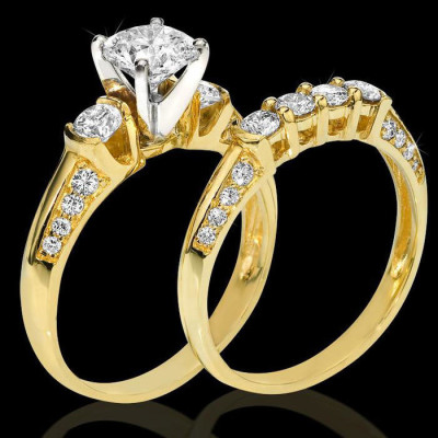 Knife Edge Round Diamond Matching Engagement and Wedding Ring Set bbr9733