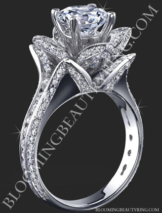 Flower Platinum Engagement Ring