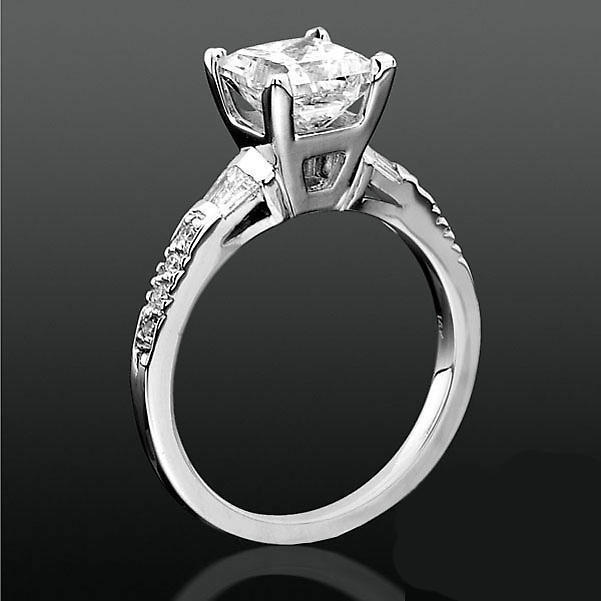 Round Pave And Channel Set Baguette Diamond Engagement