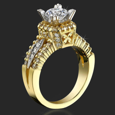 Queen's crown Mid Split Shank Diamond Engagement Ring - bbr192