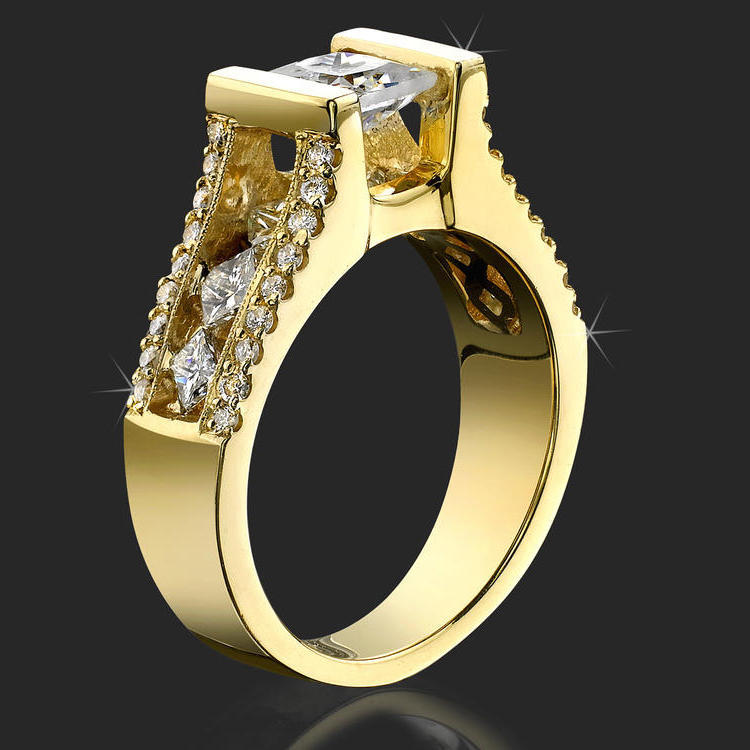 Tension Set Open Band With A Large Channel Diamond Bridge Engagement Ring