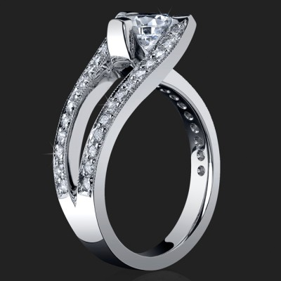 3 Sided Tension Set Split Shank Pave Diamond Engagement Ring