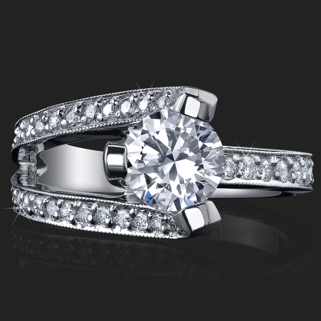 3 Sided Tension Set Split Shank Pave Diamond Engagement