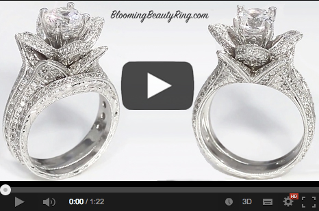 Blooming Beauty Hand Engraved Engagement Ring Set