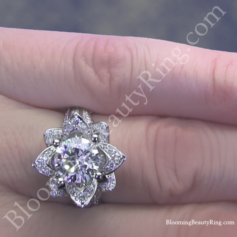 large blooming beauty flower ring on the finger hand - Large Wedding Rings