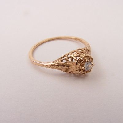 015ffbbr | Pre-Set Antique Filigree Ring | .06ct. round diamond | Florals