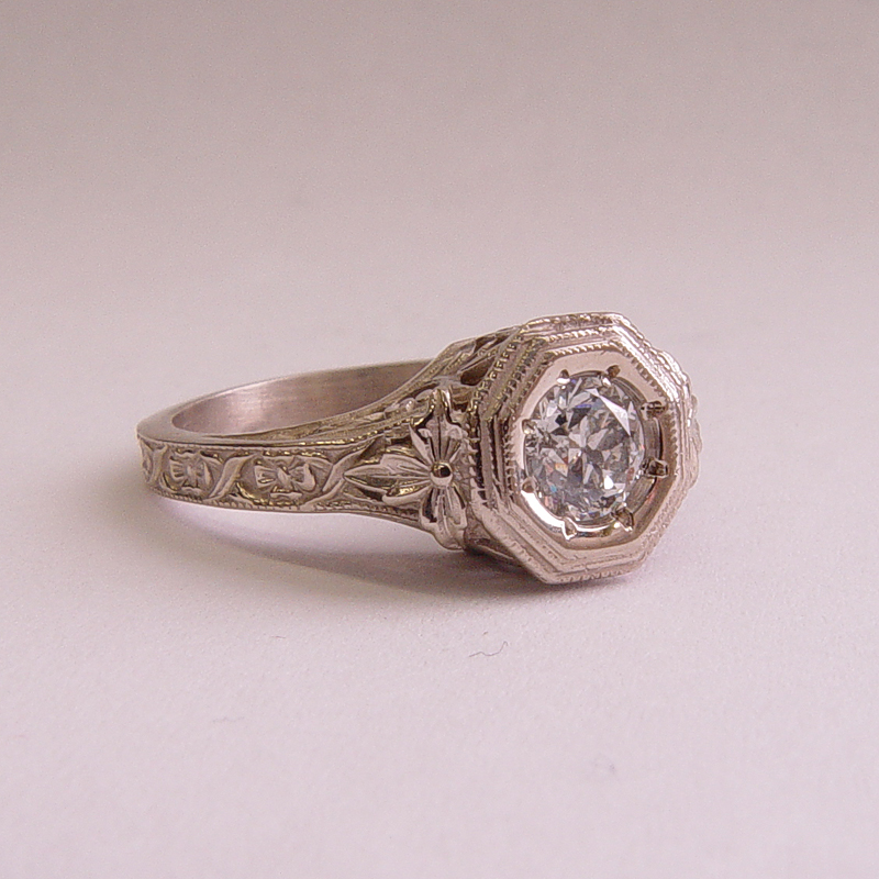 059fbbr PreSet Antique Filigree Ring 46ct Round Diamond
