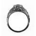 092bbr | Antique Filigree Ring | for a .42ct to .52ct round stone | Intertwining Lines