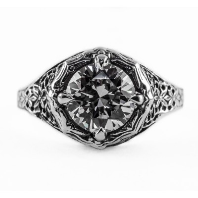 098bbr | Antique Filigree Ring | for a 2.40ct. to 2.50ct. round stone | Floral Lining