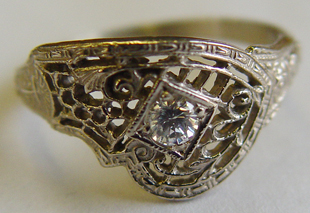 .10 ct. 14K White Vintage Filigree Engagement Ring Solitaire