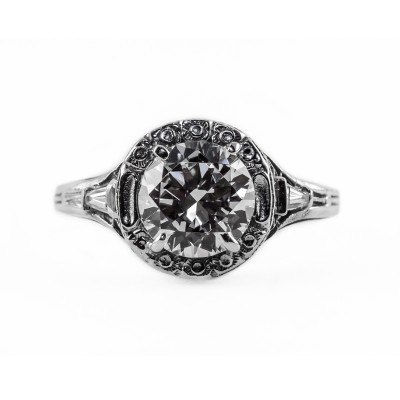 104bbr | Antique Filigree Ring | for a 2.0ct. to 2.10ct. round stone | Romantic Setting