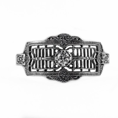 121bbr | Antique Filigree Ring | for a .06ct to .11ct round stone | Floral Band