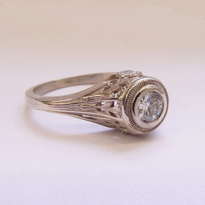 126-5fbbr | Pre-Set Antique Filigree Ring | .30ct. round diamond | Complex Cathedral