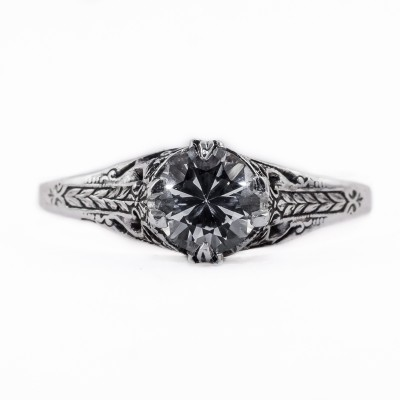 132bbr | Antique Filigree Ring | for a .75ct. to .85ct. round stone | Leaf Shaped Prongs