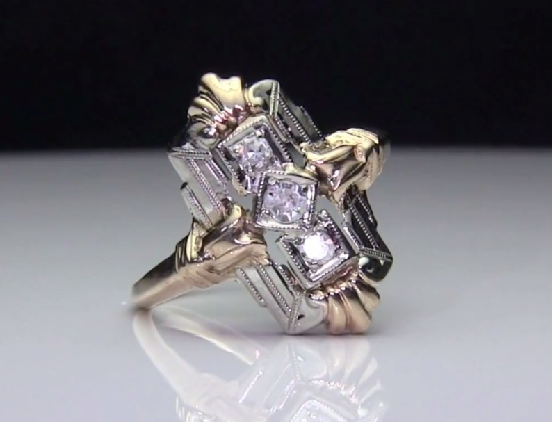 Antique 3-Stone Diamond 14k 2-Tone Gold Ring