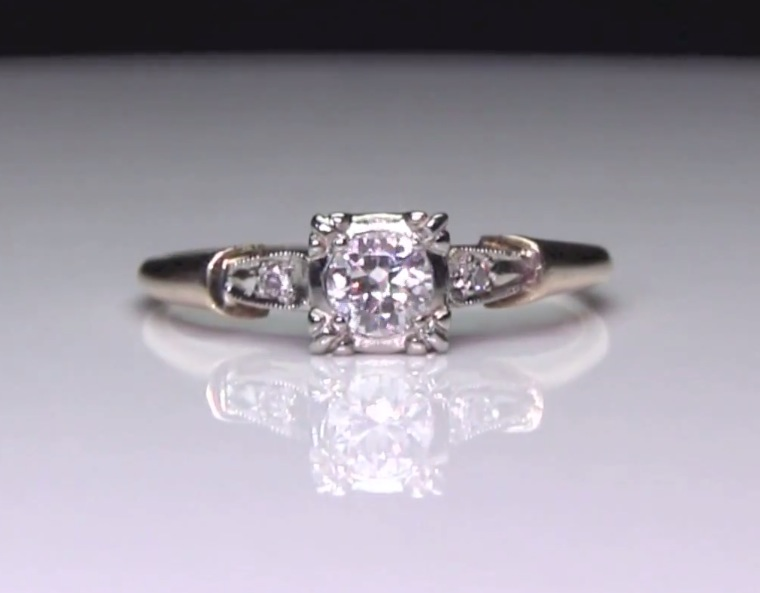 Antique 3-Stone Pre-Set Diamond 14k 2-Tone Gold Ring