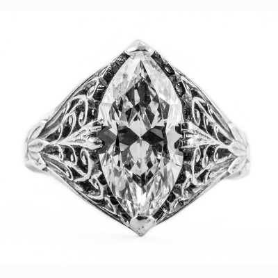 m006bbr | Antique Filigree Ring | for a 2.95ct to 3.05ct marquise stone | Scrolls