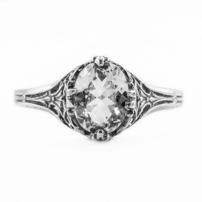 ov009bbr | Antique Filigree Ring | for a 1.15ct. to 1.25ct. oval stone | Simple and Dainty